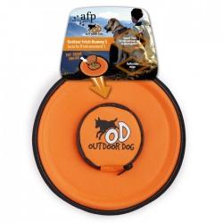 All For Paws Comederos y Bebederos Portatiles  - Fetch Frisbee - Naranja/Verde 24cm
