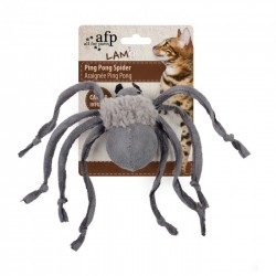 All For Paws Juguetes para Gatos Lam Cat  - Araña Ping Pong - Marrón/Gris/Canela 14cm
