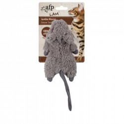 All For Paws Juguetes para Gatos Lam Cat  - Ratón Felpa - Marrón/Gris/Blanco 19cm