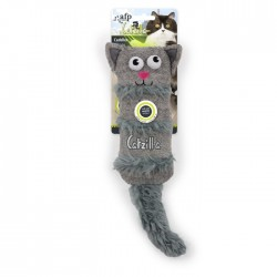 All For Paws Juguetes Grandes Catzilla para Gatos  - Cuddler - Blanco/Gris/Rosa 38cm