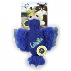 All For Paws Juguetes Grandes Catzilla para Gatos  - Pájaro Zuka - Azul/Gris/Rosa 22,8cm