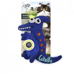 All For Paws Juguetes Grandes Catzilla para Gatos  - Amigo Jurásico - Azul/Verde/Rosa  20,3cm