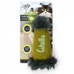 All For Paws Juguetes Grandes Catzilla para Gatos  - Fluffy Roll - Verde/Azul/Rosa 16,5cm