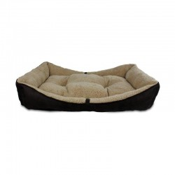All For Paws Cama Bolster Lam Dog - Marrón M-86x59x18cm