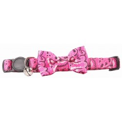 Pawise Collar con Pajarita Ajustable - Lazo Rosa