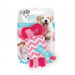 All For Paws Juguete Cachorro Teething Little Buddy - Llave Dental - Rosa 15cm
