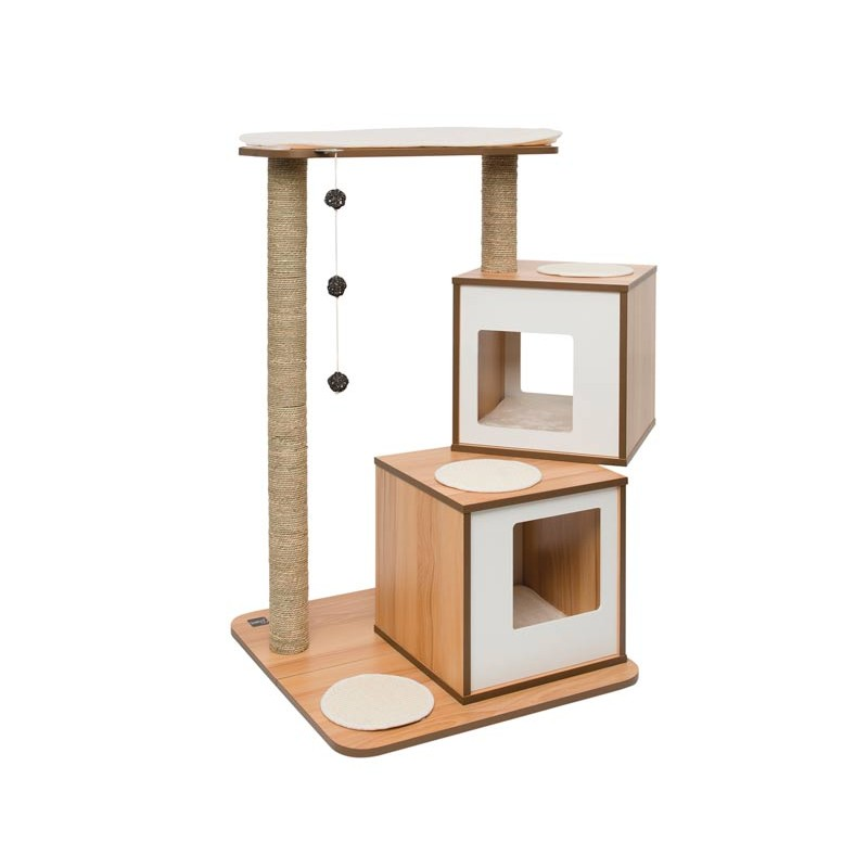 Mueble rascador para gatos v doble vesper - Mueble arenero para gatos ...