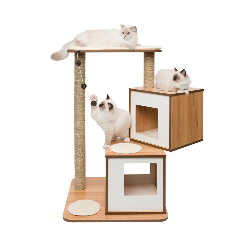 Mueble rascador para gatos v doble vesper for Mueble arenero para gatos