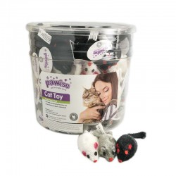 Pawise Cubo con Juguetes para Gatos  - Ratones Plush 120uds