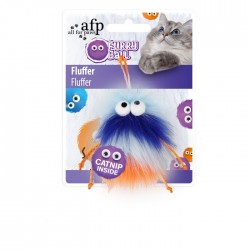 All For Paws Juguetes para gatos Furry Ball - Fluffer Azul 15x8x3,5cm