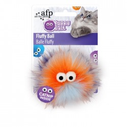 All For Paws Juguetes para gatos Furry Ball - Fluffy Ball Naranja 9,5x9,5x5cm