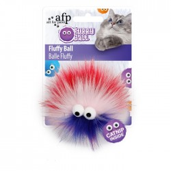 All For Paws Juguetes para gatos Furry Ball - Fluffy Ball Rojo 9,5x9,5x5cm