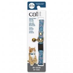 Collar ajustable de Nailon Plata y Cascabel Catit 20-33cm - Azul/Corazón