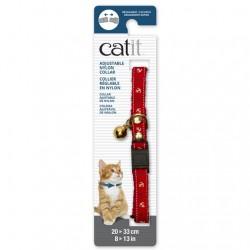 Collar ajustable de Nailon Plata y Cascabel Catit 20-33cm - Rojo/Náutico