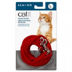 Correa de amarre de nailon Catit - 4.5m Rojo