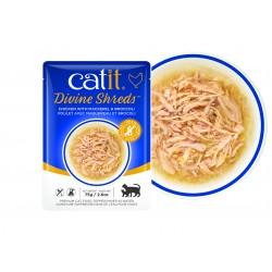 Catit Divine Shreds - Sopas de pollo para gatos - Caballa y brócoli