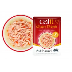 Catit Divine Shreds - Sopas de pollo para gatos - Atún y zanahoria