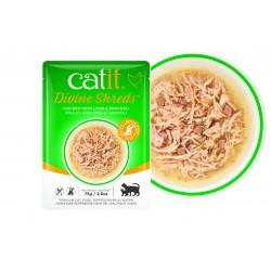 Catit Divine Shreds - Sopas de pollo para gatos - Hígado y brócoli