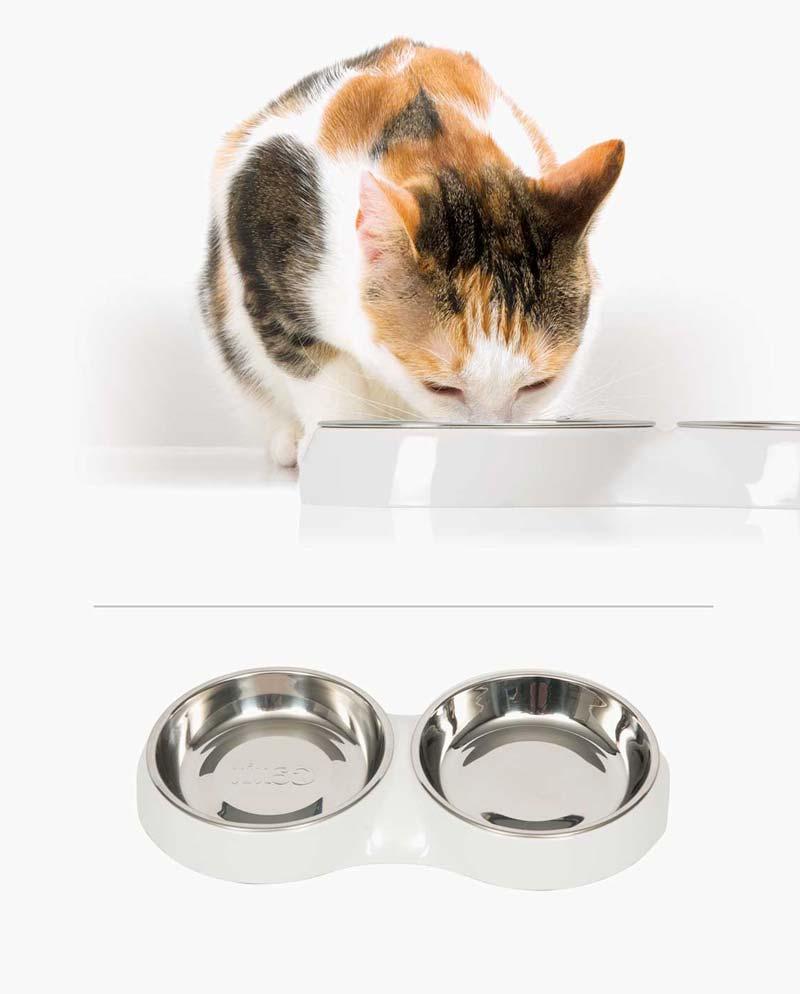 Comedero blanco para gatos Catit