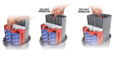Cestos para materiais de filtro com alças