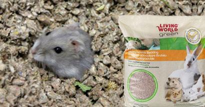 Sustrato papel reciclado para roedores Living World Green