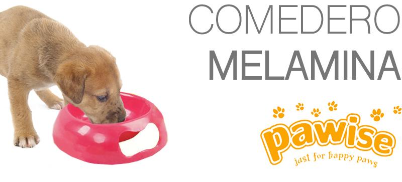Perro comiendo del Comedero Melamine Pawise