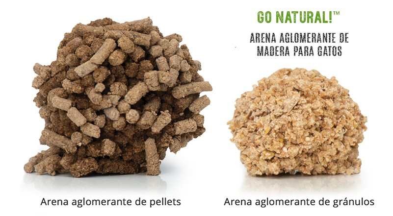 Comparación de arena de pellets con arena de madera Catit
