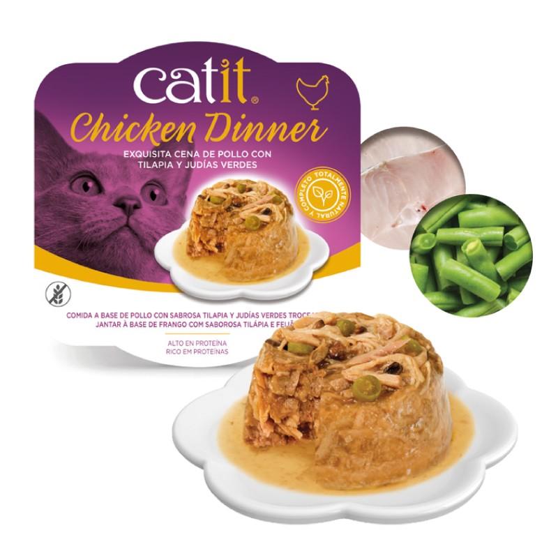 Catit Dinner de pollo, tilapia y judías verdes con ingredientes