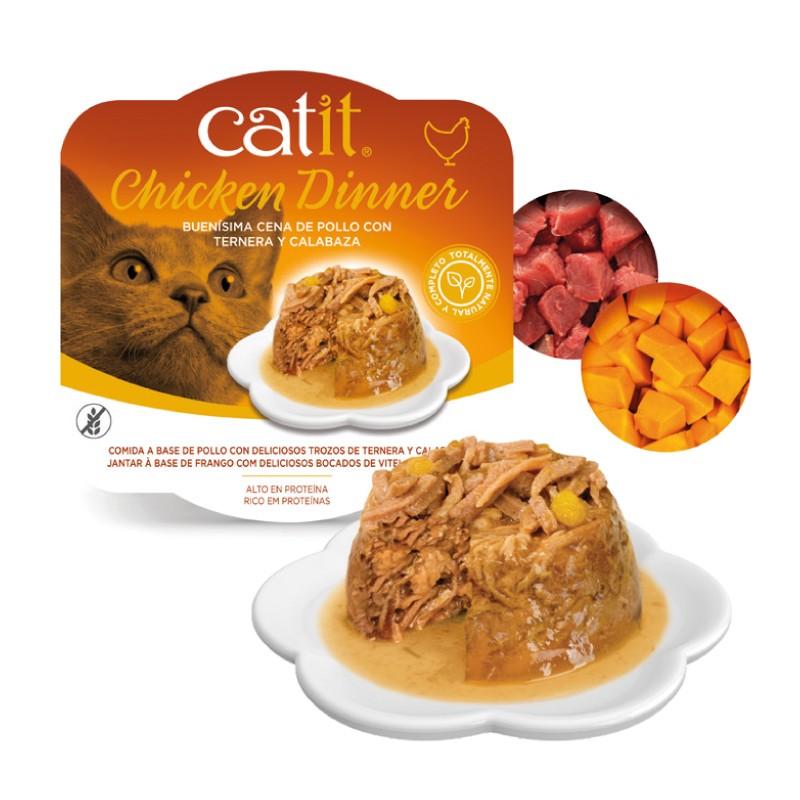 Catit Dinner de pollo, carne y calabaza con ingredientes
