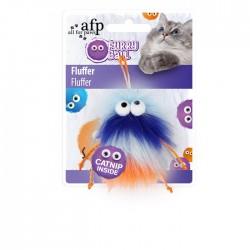 All For Paws Juguetes para gatos Furry Ball - Fluffer Azul 15x8x3,5cm