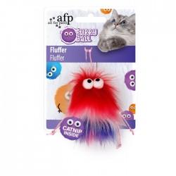 All For Paws Juguetes para gatos Furry Ball - Fluffer Rojo 15x8x3,5cm