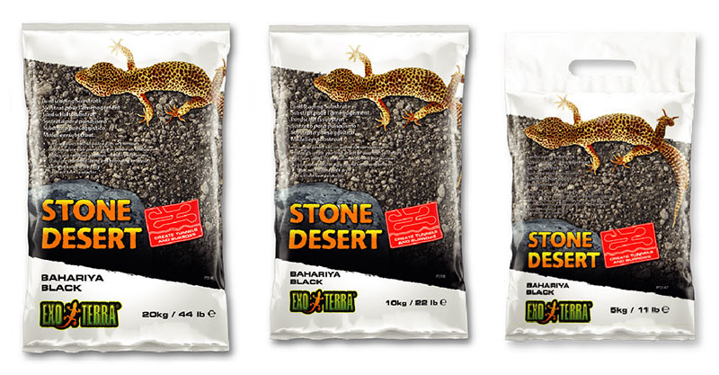 Tres formatos de Sustrato Stone Desert negro del Bahariya