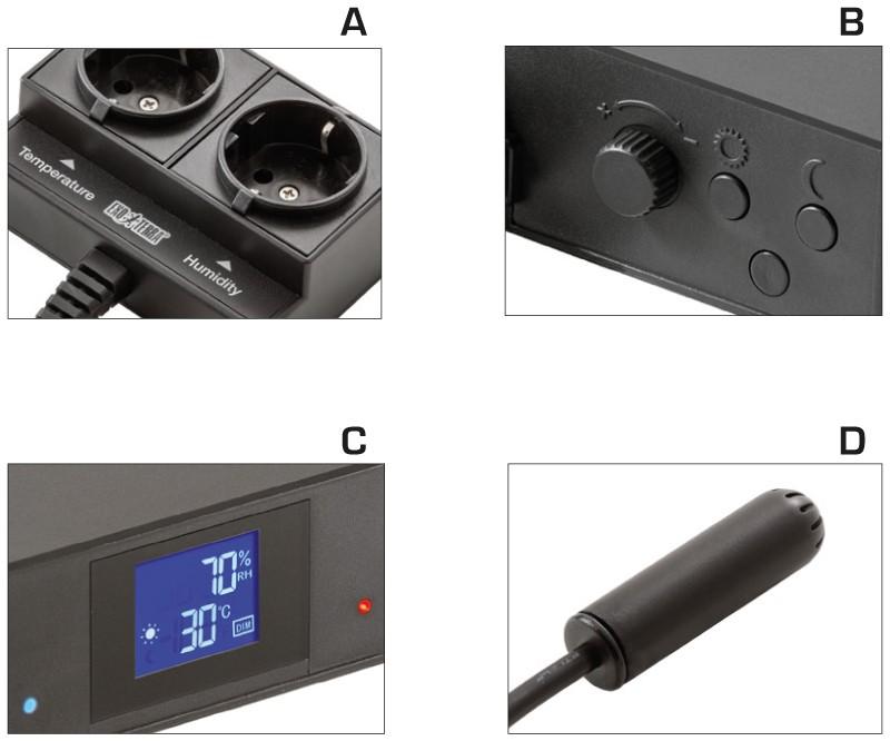 Características principales del termostato higrómetro Exo Terra